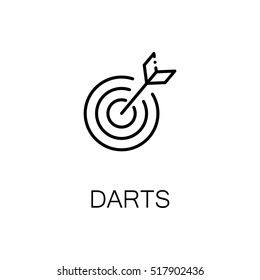Darts flat icon. Single high quality outline symbol of sport for web design or mobile app. Thin line signs of darts for design logo, visit card, etc. Outline pictogram of apple.