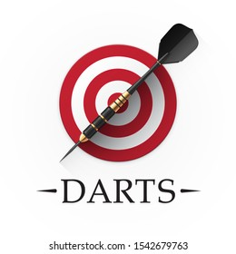 Darts game emblem. Vector illustration showing a detailed black dart with golden parts on a background of a simple red target