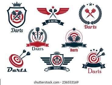 Darts heraldic sports emblems and symbols with crossed darts, laurel wreath, target and ribbons for sporting design