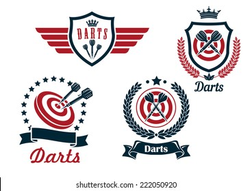 Darts heraldry emblems with arrows and dartboards, isolated on white for sporting logo design