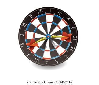 Darts Hitting A Target, Vector illustration. front angle