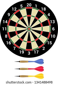 Darts - isolated dartboard and dartsmith