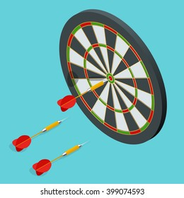 The darts isolated on write background.  Success target, aim, goal achievement concept. Three darts arrows fly to center