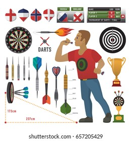 Darts items, elements with darts man, dart, arrow, dartboard, trophy shield for sport and leisure theme design. Vector illustration art