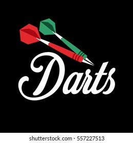 Darts label. Badge Logo sporting symbols. Sport leisure design. Vector Illustration.