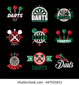 Darts Labels and Icons Set. Vector Illustration. Sports emblems and symbols with crossed darts, target for sporting design.