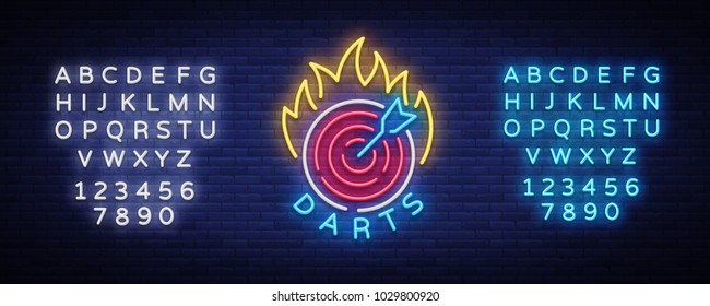 Darts Logo in Neon Style. Neon Sign, Bright Night Advertising, Light Banner. Vecton illustration. Editing text neon sign