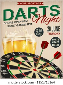 Darts Night retro poster.