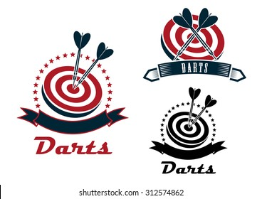 Darts sport emblems or symbols with a ribbon banner, dart board and darts in different designs, dark grey and red colors
