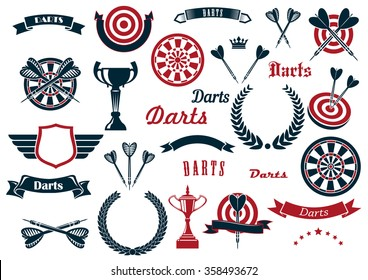 Darts sport game design elements and items with dartboard, arrow, trophy cup, heraldic laurel wreath, winged shield and ribbon banners, stars, crowns. For sports design usage