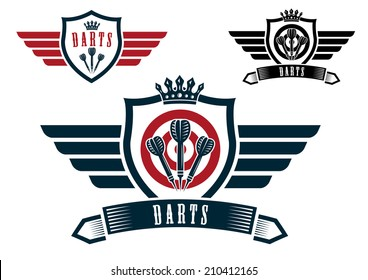Darts sporting emblems, labels or icons with wings, arrows, ribbon banner, crown and text Darts, for sport logo and recreation  design