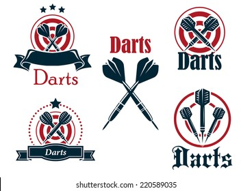 Darts sporting icons, emblems or logo set with arrows, dartboard, ribbon and stars