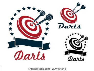 Darts sporting symbols, emblems and icons set with darts, dartboard, ribbon and laurel wreath for sport, sporting logo and leisure design