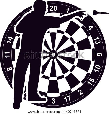 Darts Sports Game Logo Stock Vector Royalty Free 1140941321