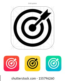 Darts target aim icon. Successful shoot. Vector illustration.