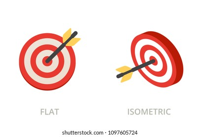 Darts, target concept flat and isometric vector icons