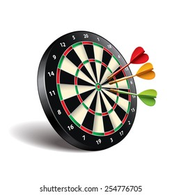 Darts target isolated on white photo-realistic vector illustration