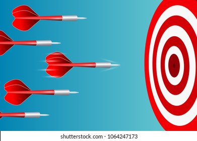 Darts target. Success Business Concept. Creative idea. competing to destinations. 3d illustration isolated on white background