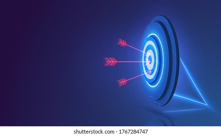 Darts target. Success Business Concept. Target hit in center by arrows, future technology. Business target isometric concept vector illustration.  Symbolic goals achievement, success, victory. Vector