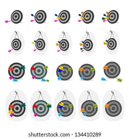 Darts And Targets Icon - Set - Isolated On White Background - Vector Illustration, Graphic Design Editable For Your Design. Darts Logo