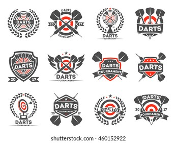 Darts tournament or club logo set, vector illustration. Design elements, business signs. Identity, labels, badges and other branding objects