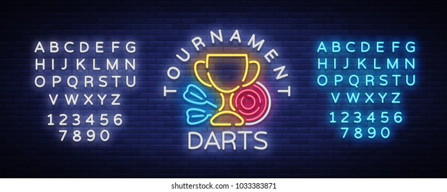 Darts Tournament neon sign. Vector illustration. Bright nightly Darts advertising, neon logo, symbol, lightweight banner, design template for your projects. Editing text neon sign