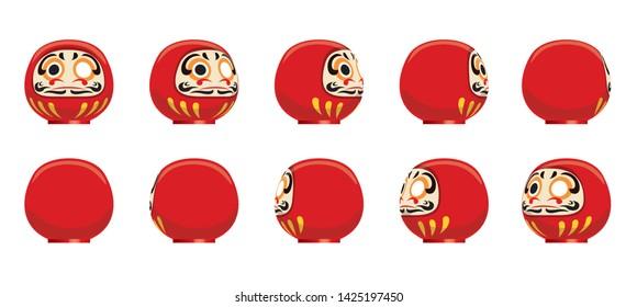 Daruma doll Animation Spinning Frame Sequence Vector Illustration
