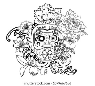 Daruma doll tattoo design.Japanese doll daruma with peony flower,persimmon,lotus and cherry blossom on wave background.