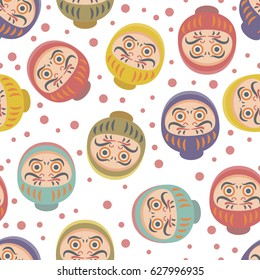 Daruma Dolls Seamless Pattern. Japanese traditional dol