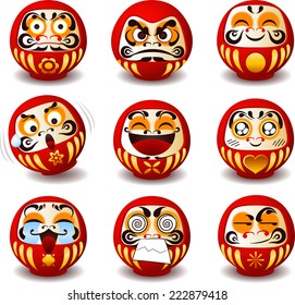 Daruma Japanese traditional doll, Bodhidharma zen buddhist bearded monk, lucky charm, symbol of perseverance and encouragement, set of icon illustrations