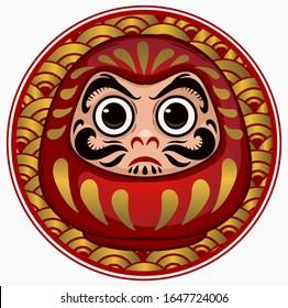 Daruma, Japanese traditional doll, symbol of perseverance, popular gift, encouragement, temples, monk, Buddhist monk, meditation. Vector illustration cartoon.