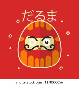 "Daruma Japanese Traditional Doll. Translation: ""Daruma""."