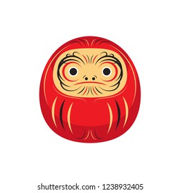 Daruma Lucky Japanese Doll Asia Traditional Culture Vector and Icon