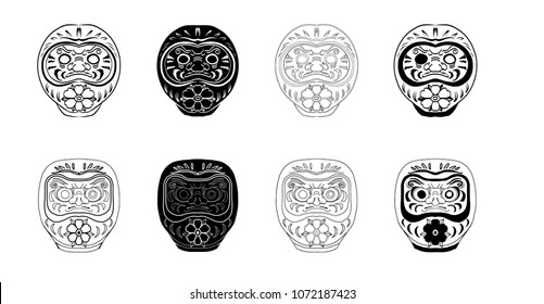 Daruma tattoo set.Japanese doll daruma vector set.