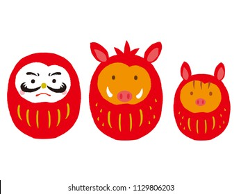 daruma and wild boar daruma set. Japanese traditional doll. vector illustration