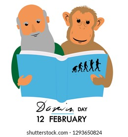 darwin and monkey reading book about evolution