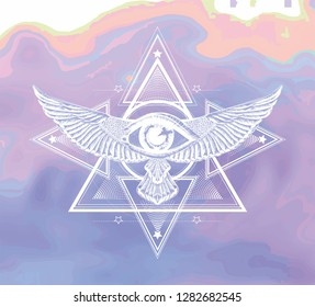Darwing white heraldic on the watercolor background. Sacred geometry of ancient greece, ancient egypt. Print for t shirt and tattoo art.