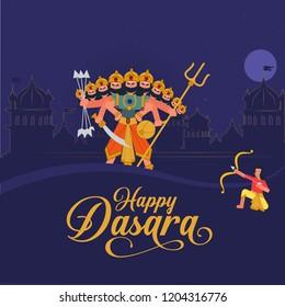 Dasara illustration indian holiday Vijayadashami. Happy Dussehra writing. God Rama with bow, arrows. Dasara hindu festival. Good over evil victory