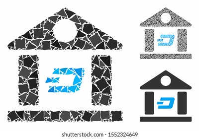 Dash bank building mosaic of tuberous pieces in variable sizes and color hues, based on Dash bank building icon. Vector ragged pieces are combined into composition.