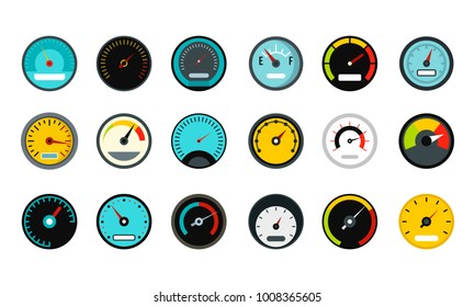 Dash board icon set. Flat set of dash board vector icons for web design isolated on white background