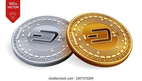 Dash. Crypto currency. 3D isometric Physical coins. Digital currency. Golden and silver coins with Dash symbol isolated on white background. Block chain. Vector illustration.