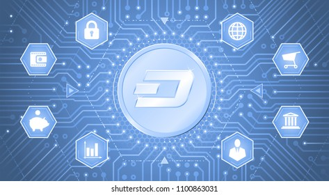 Dash Cryptocurrency. Metallic coin with the Dash symbol on it in electronic cyberspace. Graphic template on the subject of `Digital Currencies`.