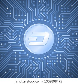 Dash Crypto-Currency. Metallic coin with the  Dash symbol on it in center of pattern in form of electronic circuit board. Graphic illustration on the subject of Digital Crypto-Currencies