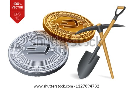 Dash Mining Concept 3 D Isometric Physical Stock Vector (Royalty