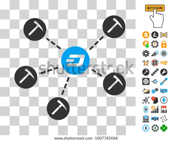 Dash Mining Network Icon Bonus Bitcoin Stock Vector (Royalty Free