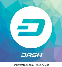DASH open-source crypto currency coin on blockchain technology. Dash vector icon, sign for print and web.