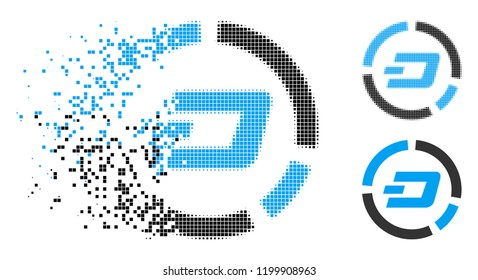 Dash pie chart icon in disappearing, dotted halftone and undamaged solid versions. Pixels are combined into vector disappearing Dash pie chart symbol. Disappearing effect uses rectangle pixels.