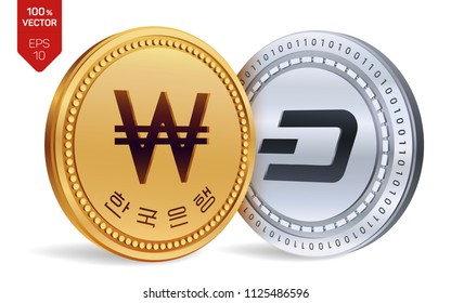 Dash. Won. 3D isometric Physical coins. Digital currency. Korea Won coin. Cryptocurrency. Golden and silver coins with Dash and Won symbol isolated on white background. Vector illustration.