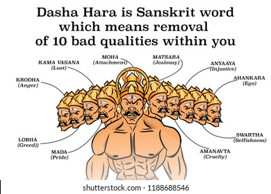 Dasha Hara is a Sanskrit word which means removal of ten bad qualities within you.Dussehra illustration.Silhouette of Ravana demon with his ten heads isolated on white background.Vijayadashami