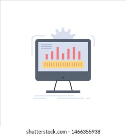 dashboard, admin, monitor, monitoring, processing Flat Color Icon Vector. Vector Icon Template background